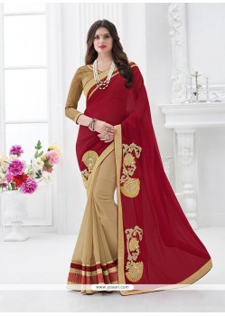 Adorning Patch Border Work Beige Designer Saree