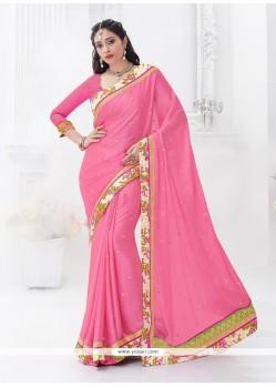 Superb Pink Embroidered Work Chiffon Satin Classic Saree
