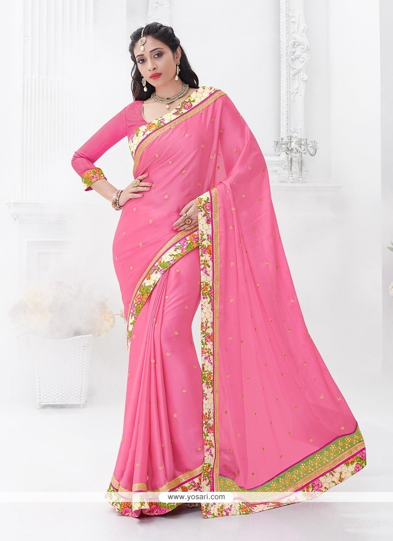 Superb Pink Embroidered Work Chiffon Satin Classic Saree