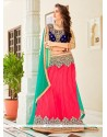 Appealing Net Blue, Pink And Sea Green Embroidered Work A Line Lehenga Choli
