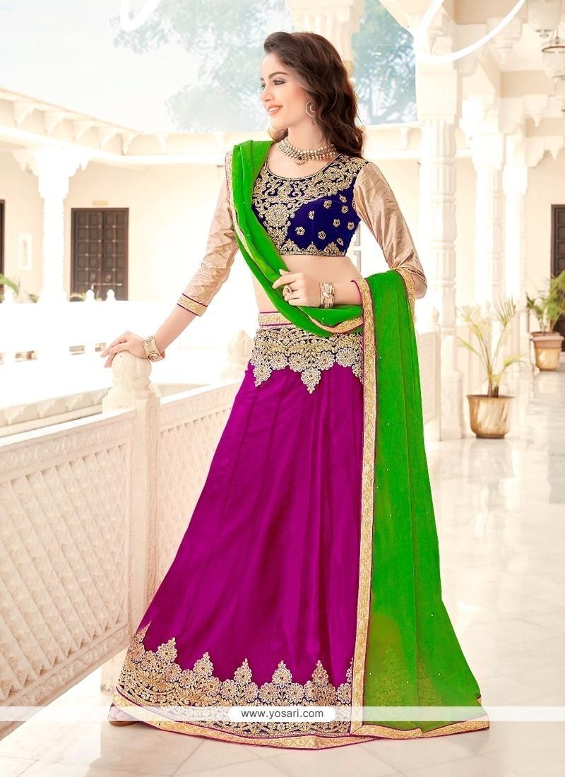 Transcendent Net Blue, Green And Purple A Line Lehenga Choli