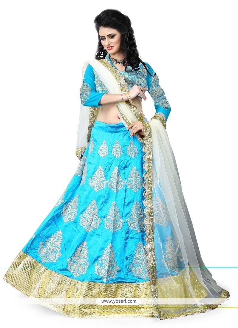 Divine Turquoise Patch Border Work Art Silk Designer Lehenga Choli