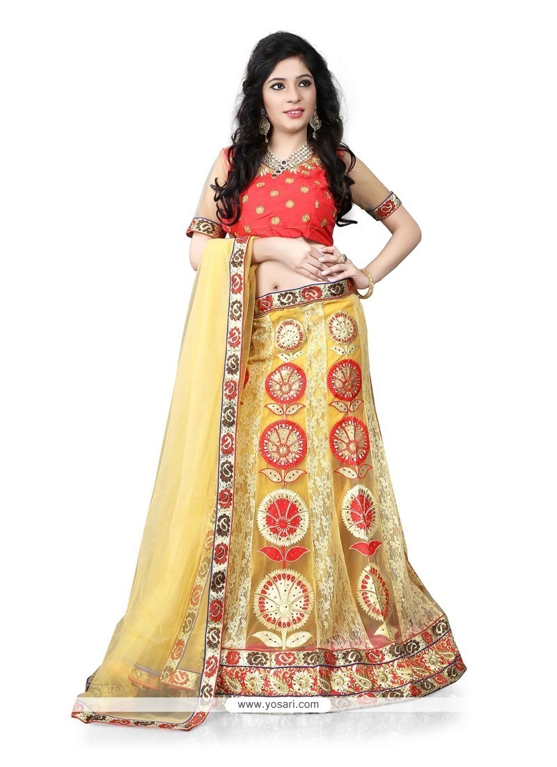 Heavenly Embroidered Work Georgette A Line Lehenga Choli