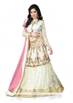 Embroidered Net Designer Lehenga Choli In Off White