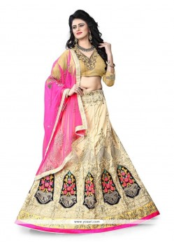 Beauteous Art Silk Patch Border Work A Line Lehenga Choli