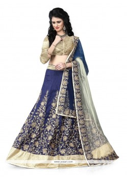 Classical Art Silk Patch Border Work A Line Lehenga Choli