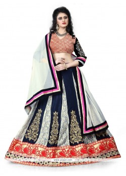 Delightsome Net Navy Blue Patch Border Work Designer Lehenga Choli