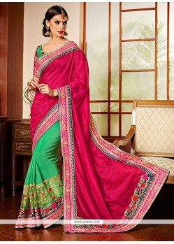 Pink And Green Art Silk Designer Saree