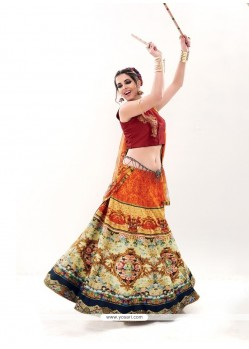 Superb Silk Multi Colour Embroidered Work A Line Lehenga Choli