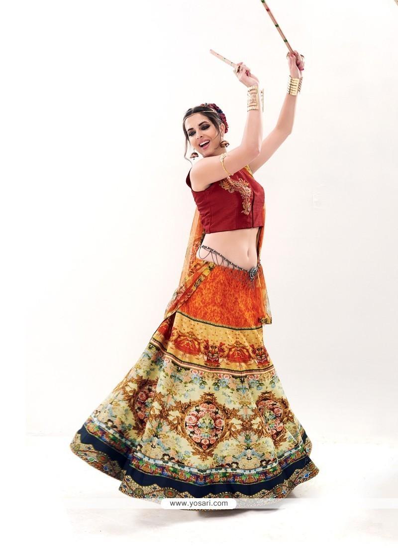 Superb Silk Multi Colour Embroidered Work A Line Lehenga Choli