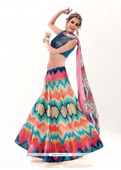 Haute Silk Multi Colour A Line Lehenga Choli