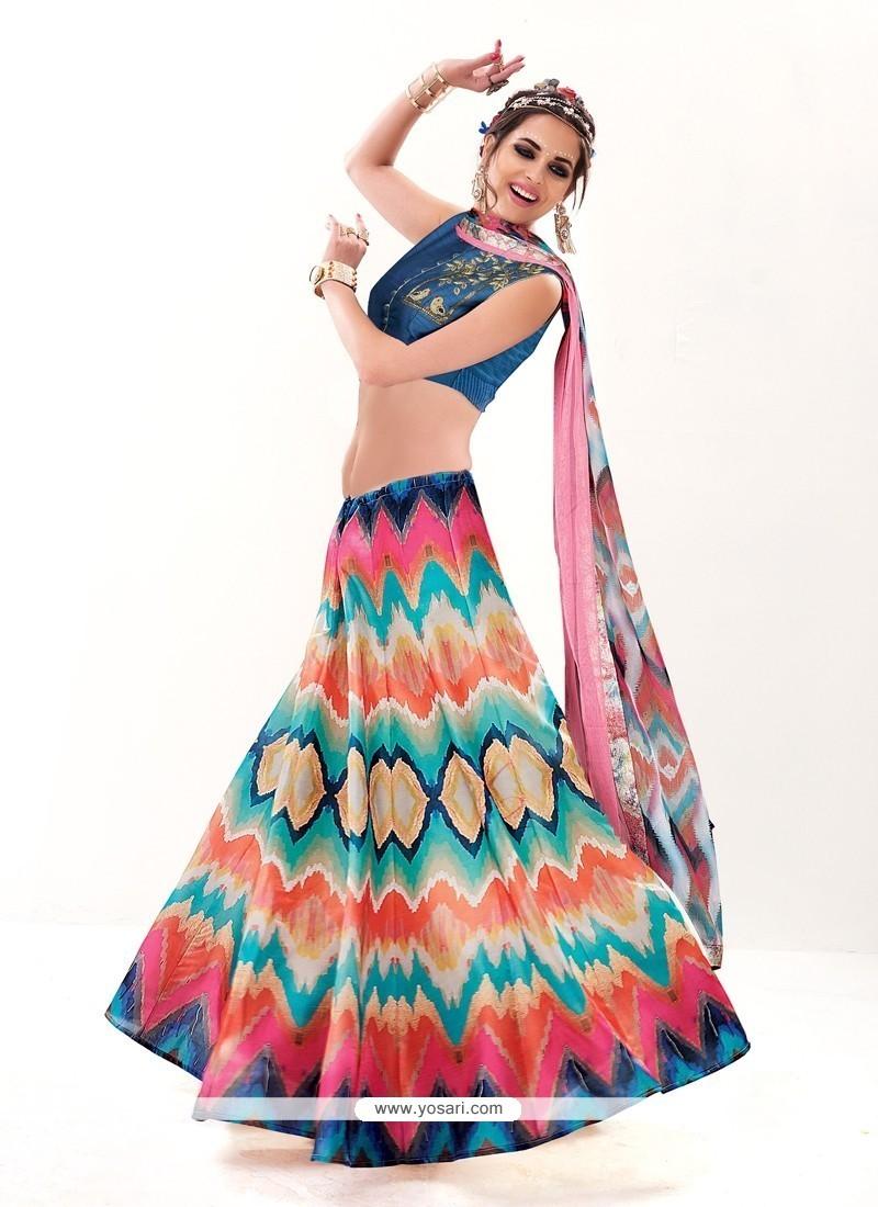 Haute Silk Multi Colour A Line Lehenga Choli