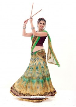 Congenial Multi Colour Print Work A Line Lehenga Choli