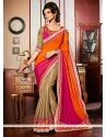 Orange And Pink Georgette Party Wear Saree