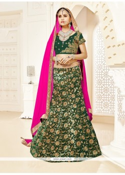 Phenomenal Green Patch Border Work Designer Lehenga Choli
