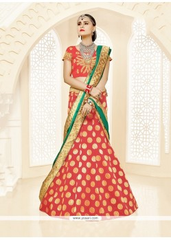 Lavish Brocade Red Embroidered Work A Line Lehenga Choli