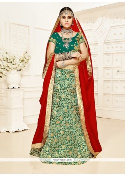 Peppy Brocade Embroidered Work A Line Lehenga Choli