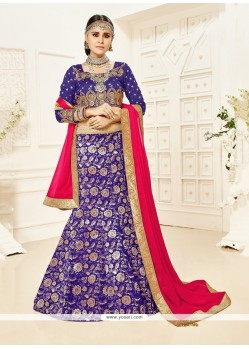 Awesome Patch Border Work Blue A Line Lehenga Choli