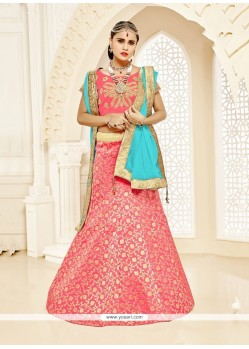 Extraordinary Red Brocade Designer Lehenga Choli