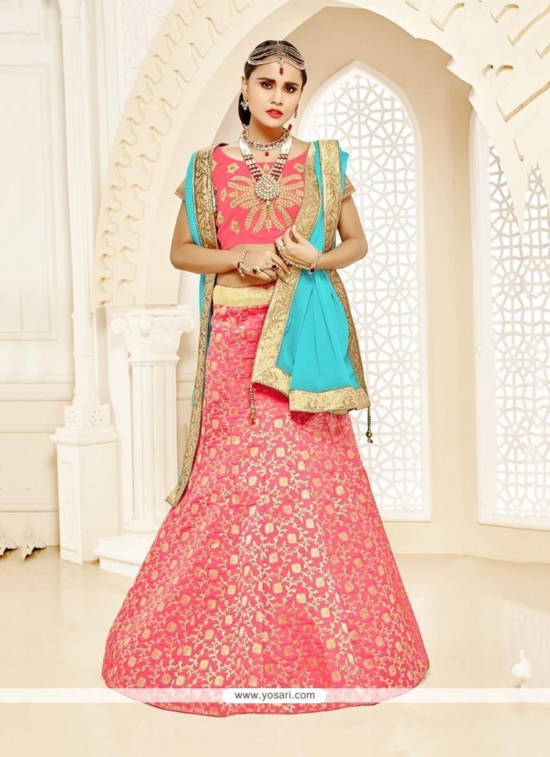 Extraordinary Red Brocade Designer Lehenga Choli