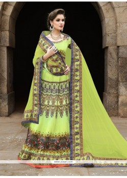 Imperial Green Satin A Line Lehenga Choli