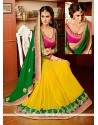 Fab Yellow And Green Georgette Designer Saree