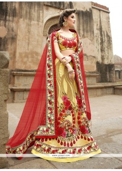 Sterling Red And Yellow A Line Lehenga Choli
