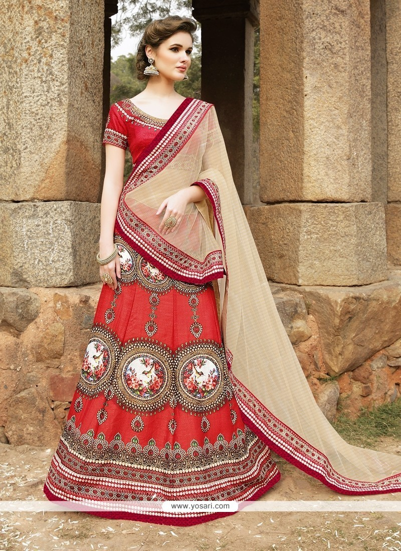Remarkable Red Patch Border Work Satin A Line Lehenga Choli