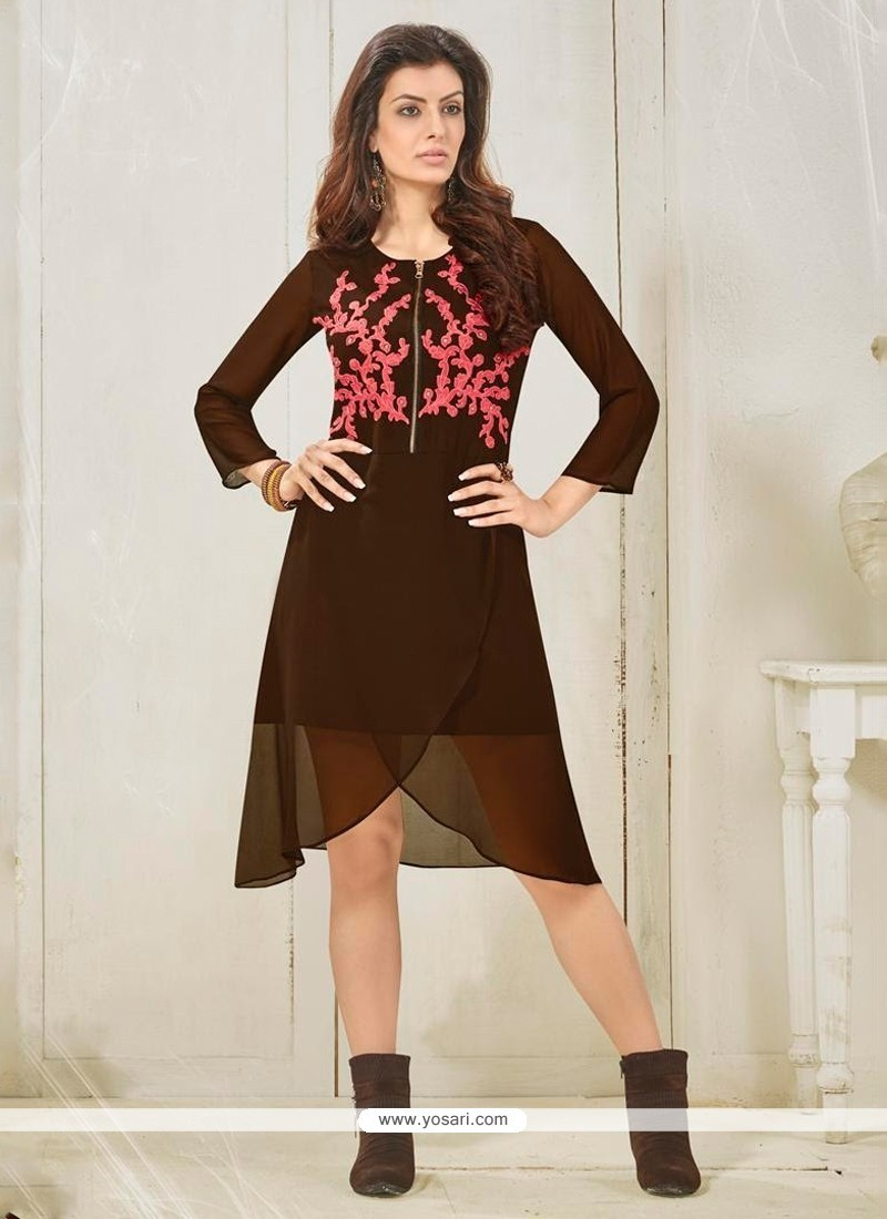 Excellent Brown Embroidered Work Designer Kurti