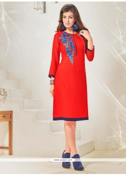 Outstanding Cotton Satin Red Designer Kurti