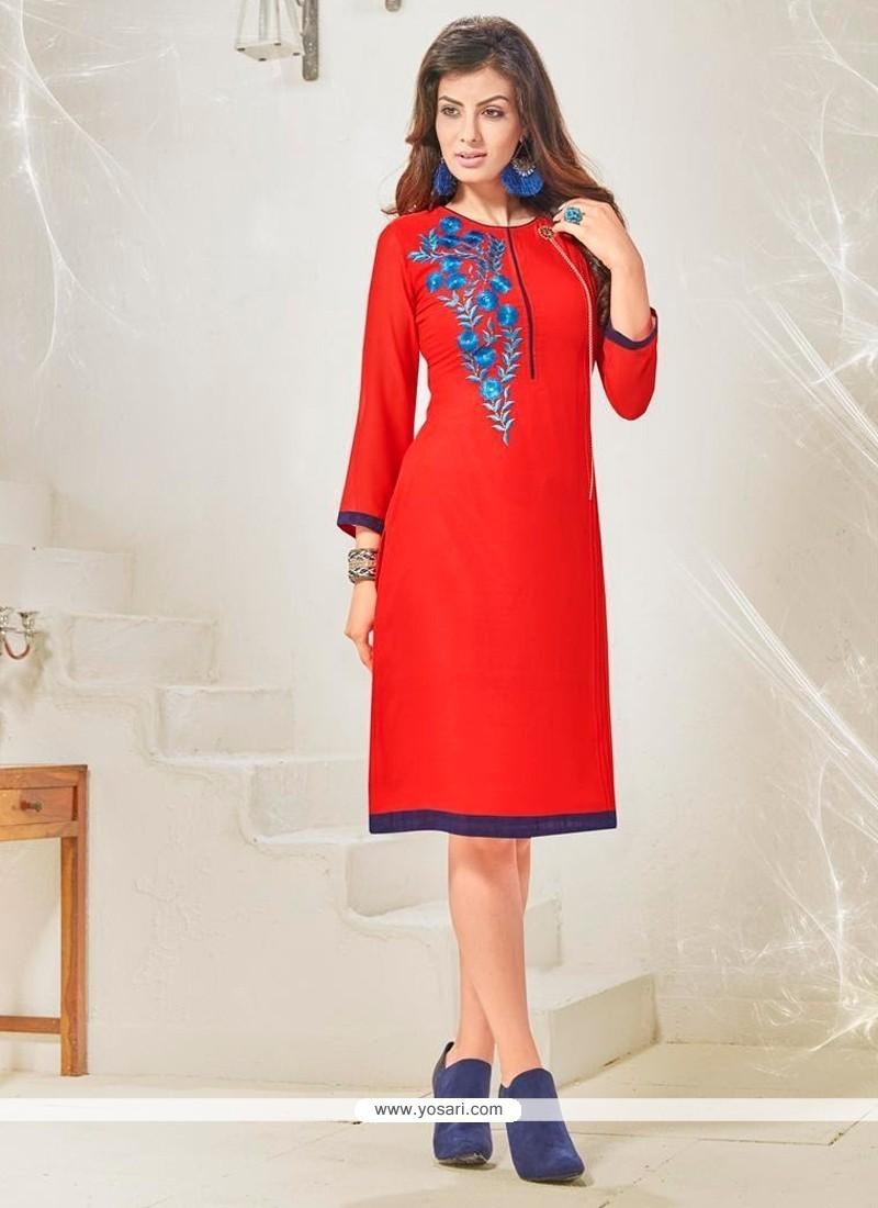 Outstanding Cotton Satin Red Designer Kurti