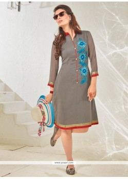 Unique Cotton Satin Embroidered Work Designer Kurti