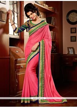 Pink Shimmer Georgette Designer Saree