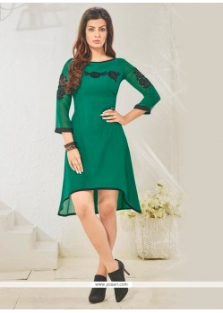 Exciting Embroidered Work Green Cotton Satin Designer Kurti