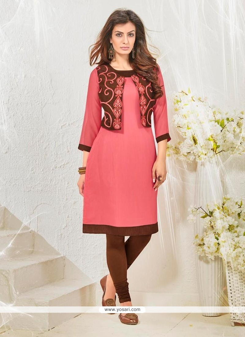 Dignified Embroidered Work Cotton Satin Designer Kurti