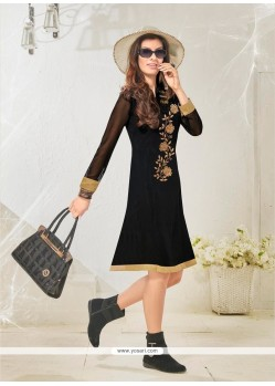 Wonderous Embroidered Work Cotton Satin Black Designer Kurti