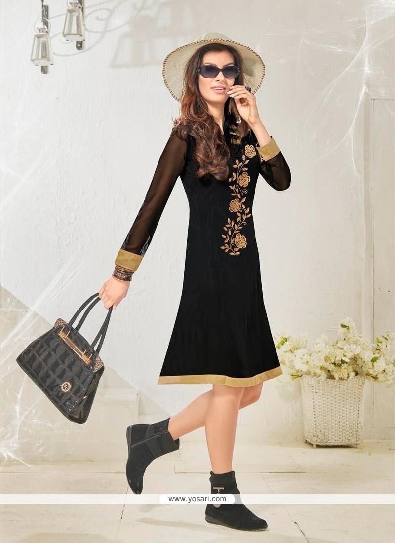 Wonderous Embroidered Work Cotton Satin Black Designer Kurti