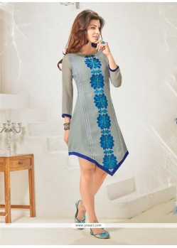 Strange Grey Cotton Satin Designer Kurti