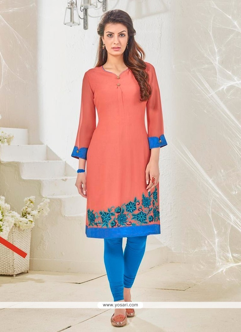 Appealing Cotton Satin Peach Embroidered Work Designer Kurti