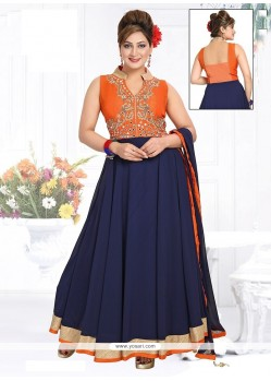 Nice Navy Blue Patch Border Work Georgette Readymade Suit