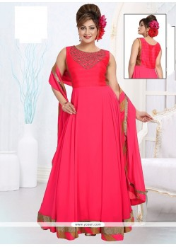Preferable Embroidered Work Georgette Hot Pink Readymade Suit