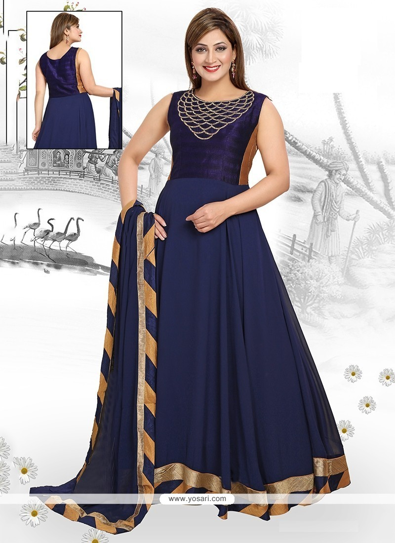 Exquisite Patch Border Work Georgette Readymade Suit