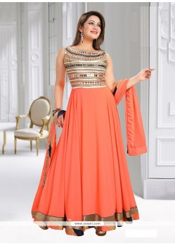 Classical Peach Patch Border Work Readymade Suit