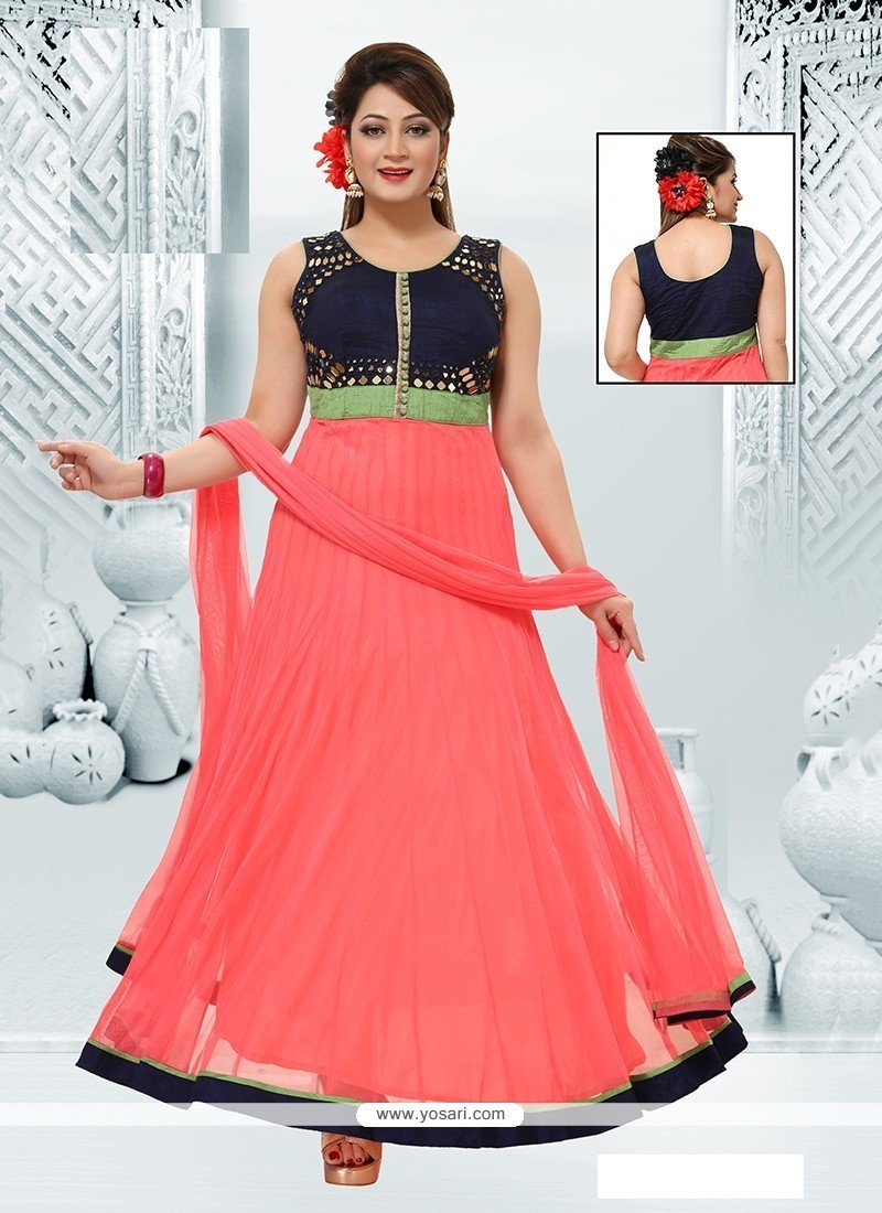 Riveting Georgette Rose Pink Readymade Suit