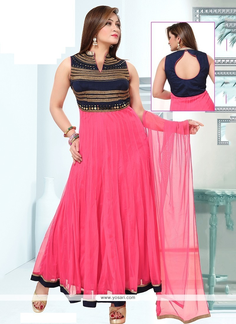 Enthralling Embroidered Work Pink Readymade Suit