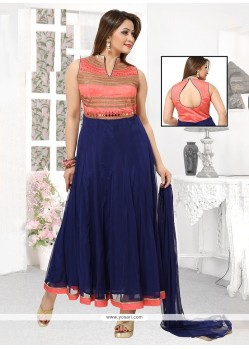 Navy Blue Georgette Readymade Suit