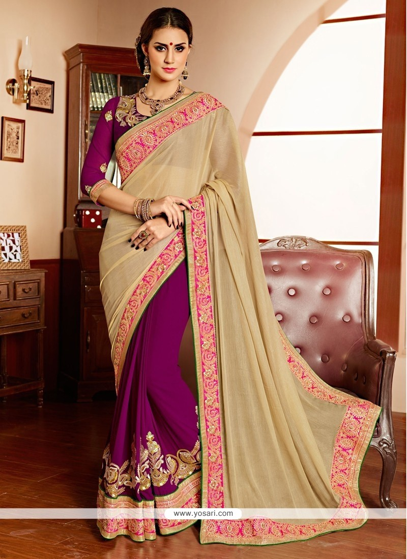 Beige And Purple Chiffon Designer Saree