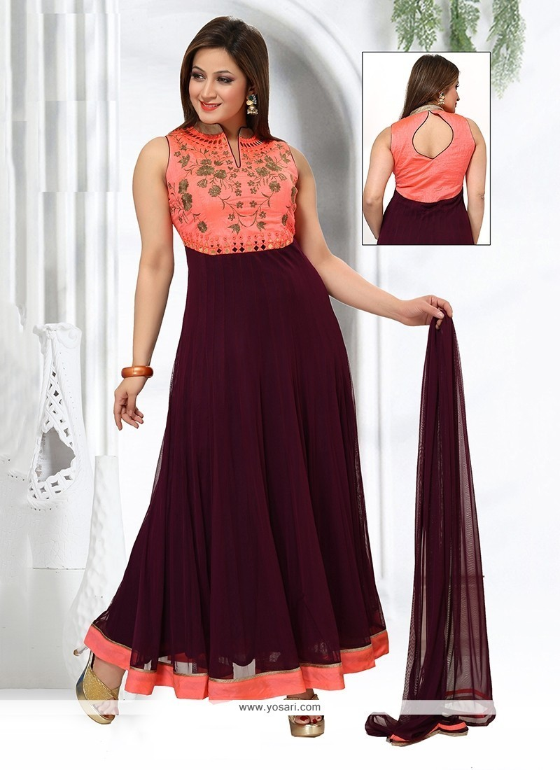 Imposing Wine Embroidered Work Georgette Readymade Suit