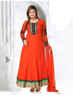 Thrilling Orange Embroidered Work Net Readymade Suit