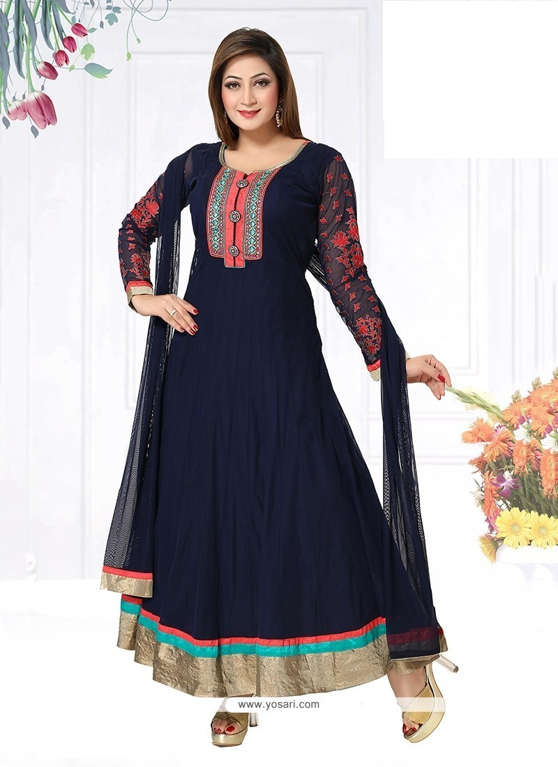 Intricate Navy Blue Patch Border Work Net Readymade Suit